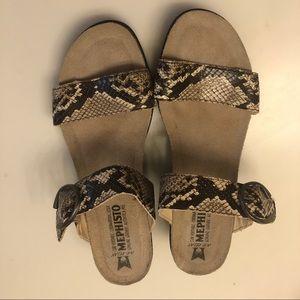 Mephisto Wedge Reptile Print Sandals